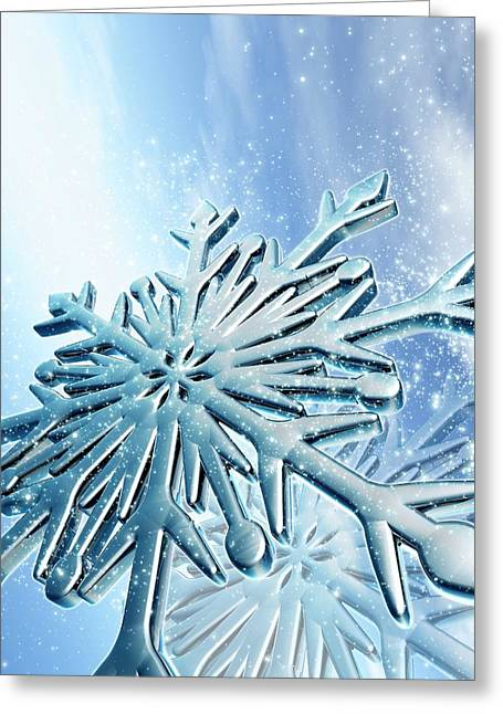 Ice Crystals Greeting Card by Victor Habbick Visions