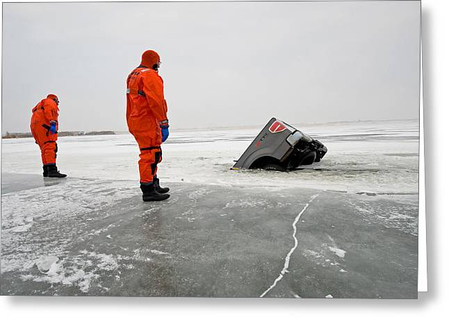 Ice Rescue Practice Greeting Card by Kevin Link
