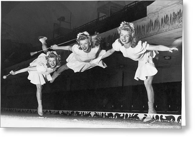 Ice Skater Triple Exposure Greeting Card by Underwood Archives