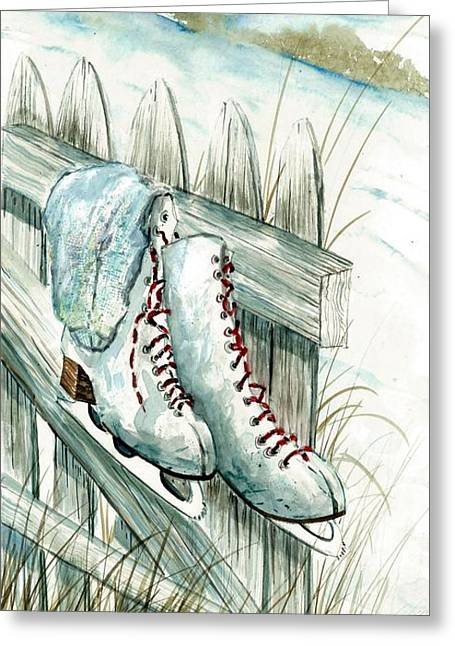 Ice Skates On Fence Greeting Card by Steven Schultz