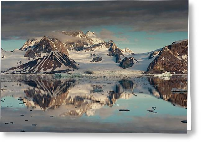 Icebergs And Mountains, Hornsund Fiord Greeting Card