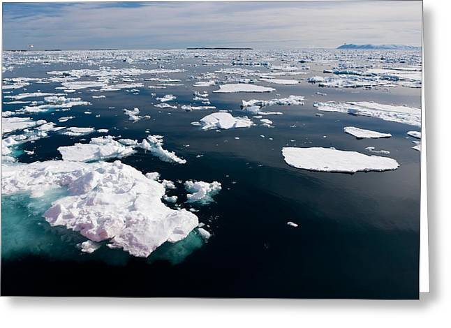 Icebergs, Hinlopen Strait, Spitsbergen Greeting Card by Panoramic Images