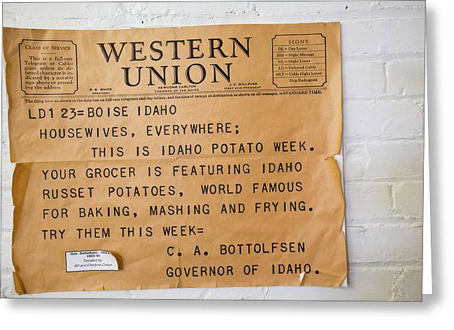 Idaho Potato Museum Greeting Card by Jim West