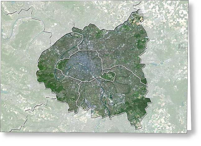 Ile-de-france, France, Satellite Image Greeting Card by Science Photo Library