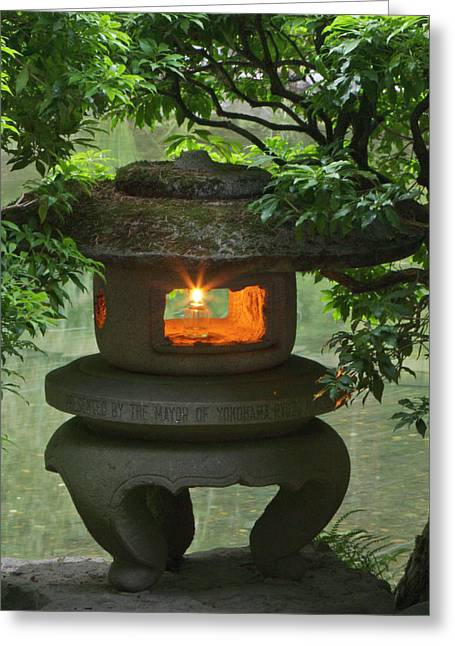 Illuminated Stone  Lantern In Portland Greeting Card by William Sutton