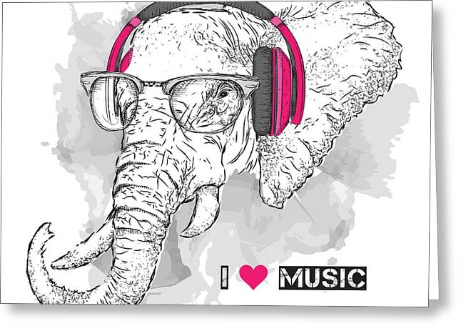 Illustration Of Elephant Hipster Greeting Card by Sunny Whale