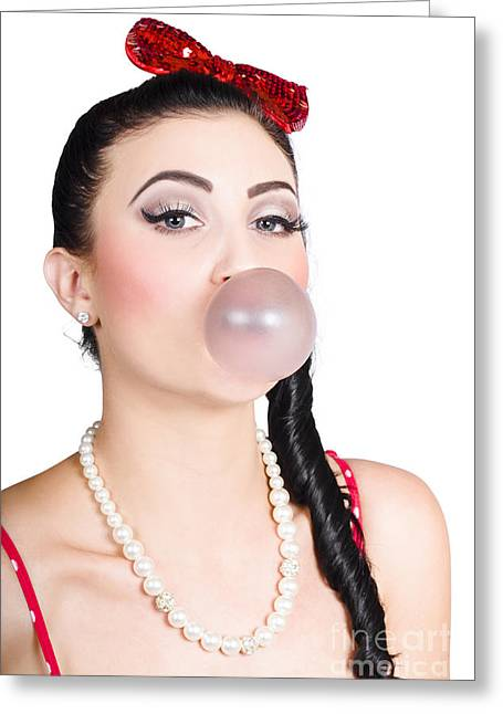 Image Of A Pinup Girl Blowing Bubble Gum Greeting Card