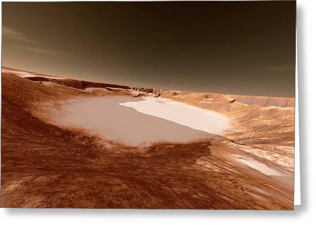 Impact Crater On Mars Greeting Card by Detlev Van Ravenswaay