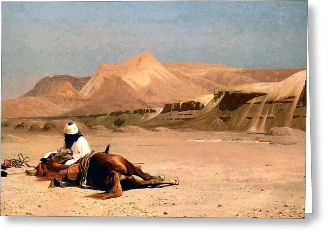 In The Desert Greeting Card by Jean-Leon Gerome