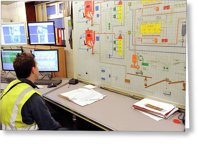 Incinerator Control Room Greeting Card by Public Health England