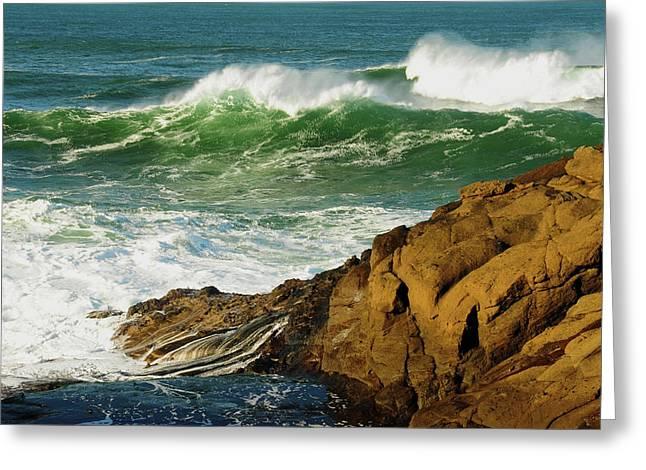 Incoming Tide At Yachats, Yachats Greeting Card