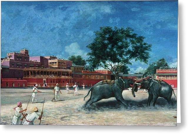 India Elephant Fight Greeting Card by Granger