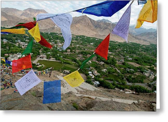 India, Ladakh, Leh, Capital Of Ladakh Greeting Card