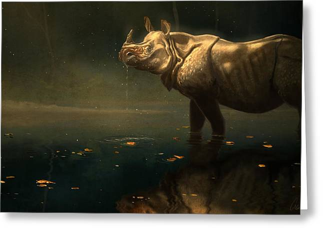 Indian Rhino Greeting Card by Aaron Blaise