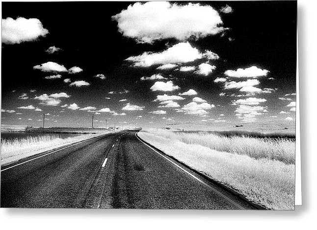 Infrared Photo Of Prairie Road Greeting Card by Donald  Erickson