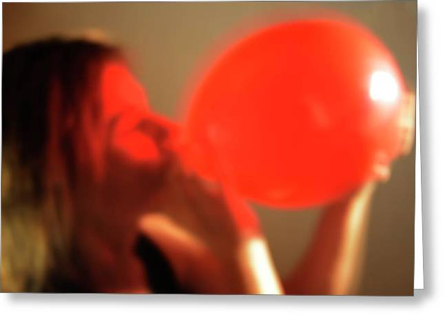 Inhaling Nitrous Oxide From A Balloon Greeting Card by Cordelia Molloy