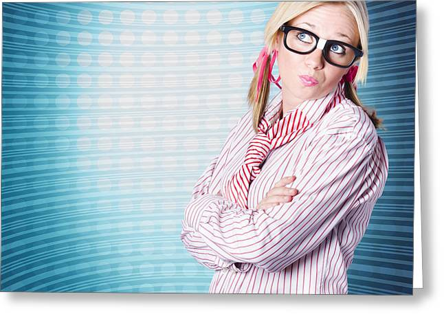 Innovative Marketing Woman Looking At Copyspace Greeting Card by Jorgo Photography - Wall Art Gallery