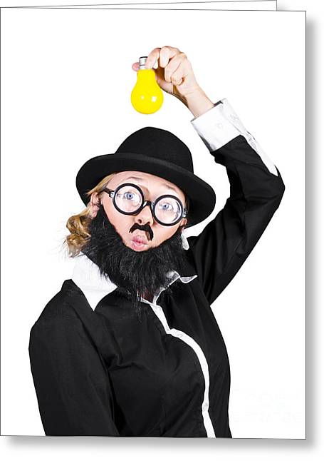 Inspired Woman Dressed As Man Holding Bulb Greeting Card