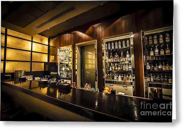 interior of a bar HDR Greeting Card by Dan Yeger