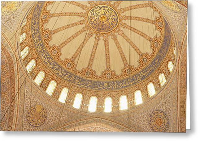 Interiors Of A Mosque, Blue Mosque Greeting Card by Panoramic Images
