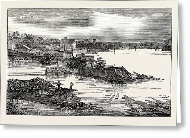 Inundations In The United States Of America Cumberland River Greeting Card by American School