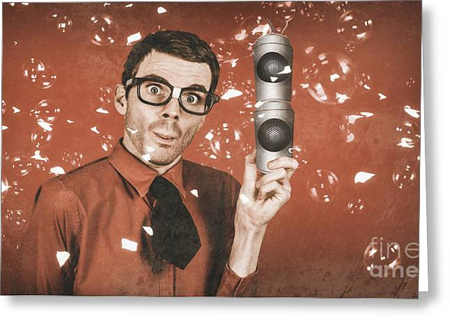Inventor Man Holding Beer Can Speakers At Party Greeting Card by Jorgo Photography - Wall Art Gallery