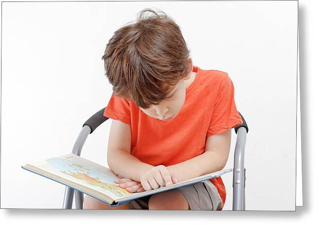 Investigative Young Boy Of Six Greeting Card by Photostock-israel