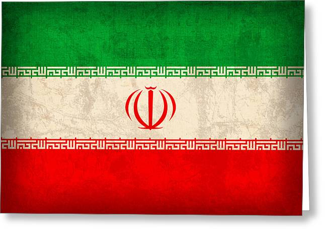 Iran Flag Vintage Distressed Finish Greeting Card by Design Turnpike
