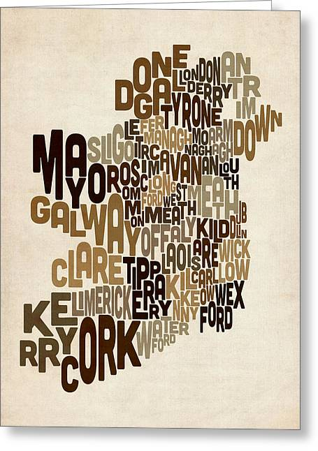 Ireland Eire County Text Map Greeting Card