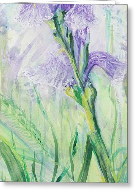 Greeting Card featuring the painting Iris Number Three by Cathy Long