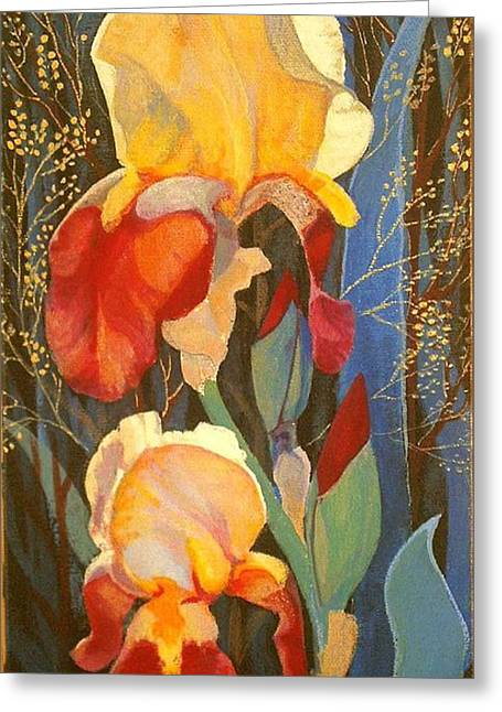 Greeting Card featuring the painting Irises by Marina Gnetetsky