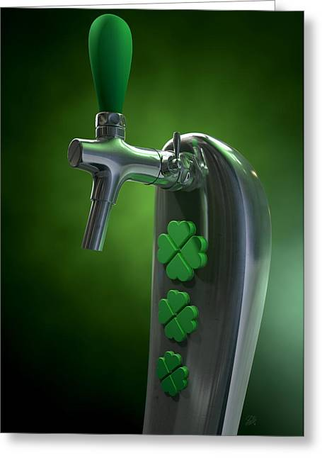 Irish Beer Tap Greeting Card by Allan Swart
