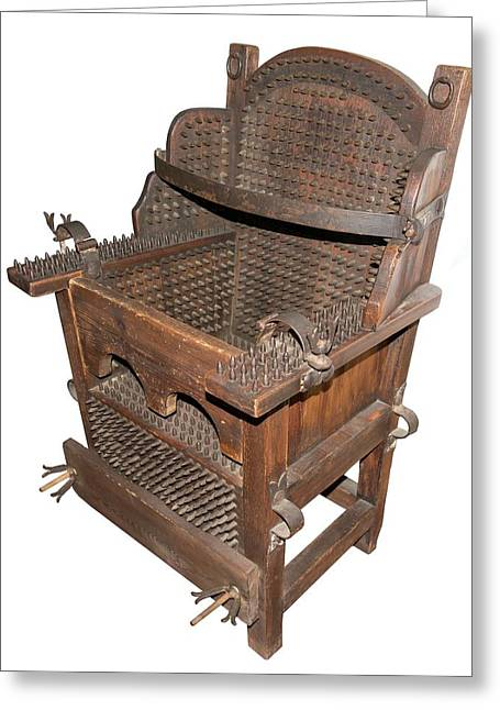 Iron Torture Chair Greeting Card by David Parker