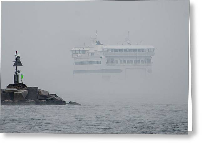 Island Home In Fog Greeting Card