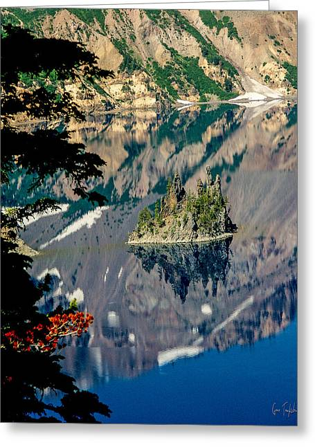 Island Reflection Greeting Card by Gene Tewksbury