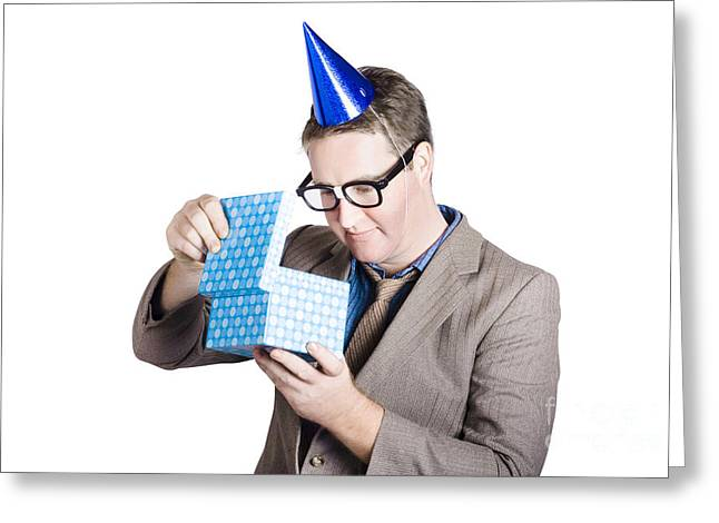 Isolated Businessman In Party Hat. Business Bonus Greeting Card
