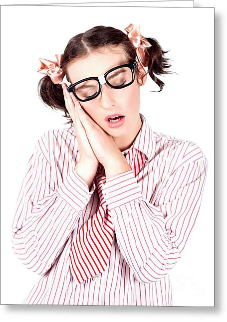 Isolated Businesswoman Sleeping On White Background Greeting Card