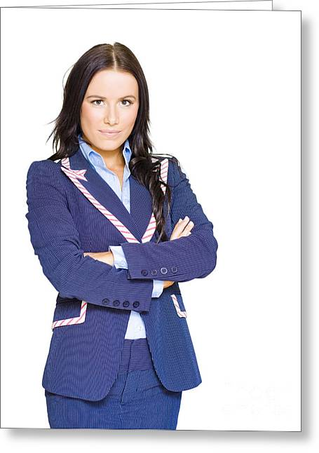 Isolated Confident Female Business Person On White Greeting Card