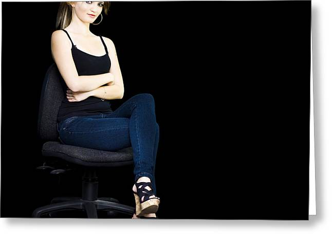 Isolated Corporate Woman On Office Chair Greeting Card