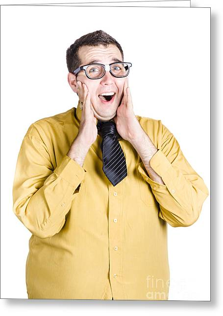 Isolated Excited Businessman Greeting Card by Jorgo Photography - Wall Art Gallery