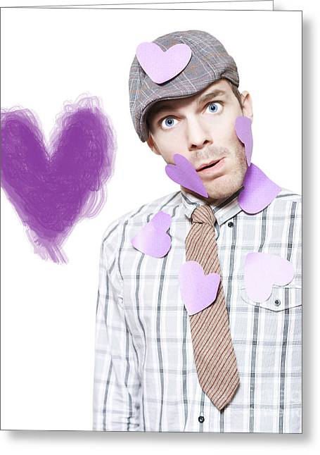 Isolated Love Struck Boy With Purple Heart Drawing Greeting Card