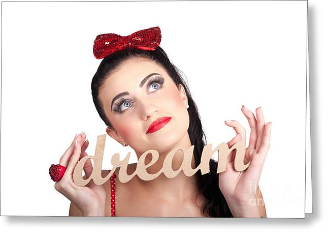 Isolated Pin Up Woman With A Dream In Grasp Greeting Card