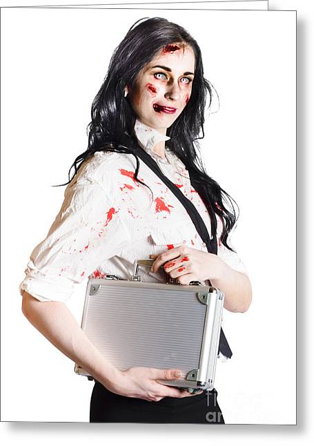 Isolated Zombie Businesswoman On White Greeting Card
