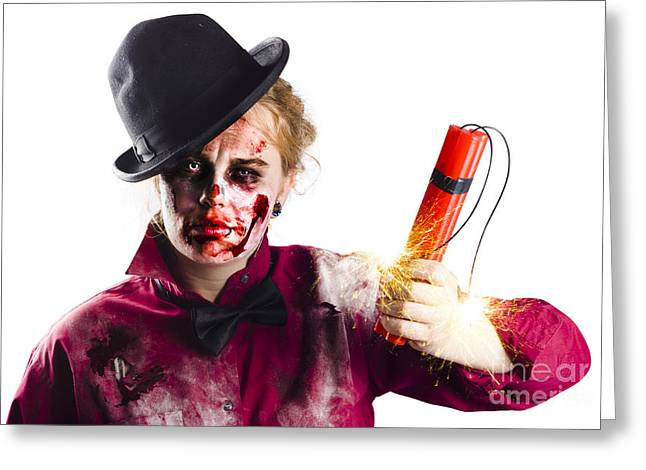 Isolated Zombie Woman With Dynamite Greeting Card by Jorgo Photography - Wall Art Gallery