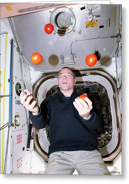 Iss Astronaut Juggling Greeting Card