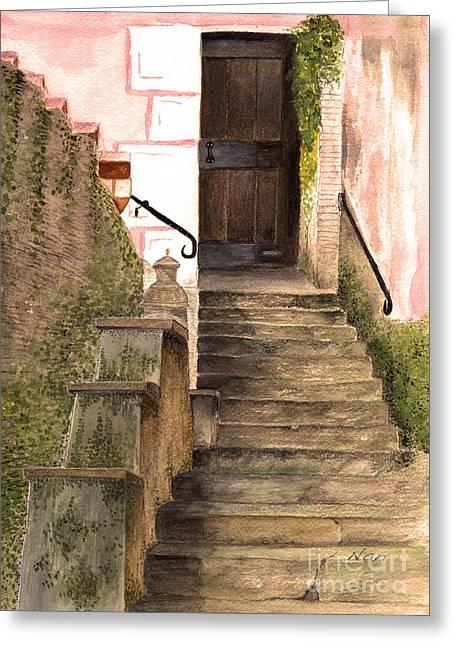 Italian Doorway Greeting Card by Nan Wright