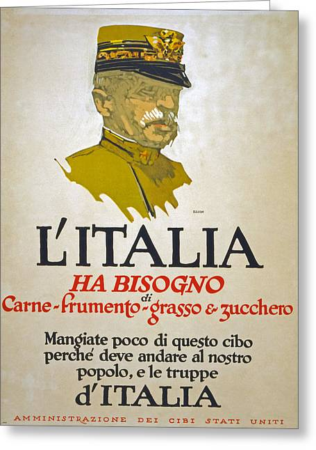 Italy Has Need Of Meat Wheat Fat And Sugar Greeting Card by George Illian