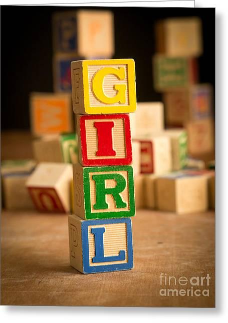 Its A Girl - Alphabet Blocks Greeting Card by Edward Fielding