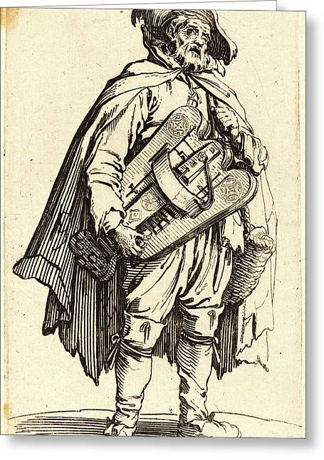 Jacques Callot, French 1592-1635, The Hurdy-gurdy Player Greeting Card