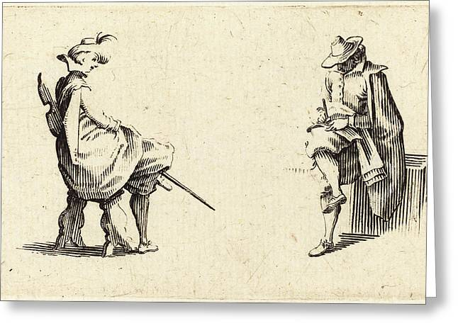Jacques Callot French, 1592 - 1635, Two Seated Figures Greeting Card